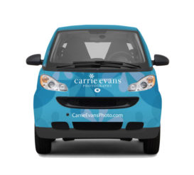 Carrie Evens Front of Car - SmartWrap® Vehicle Wraps